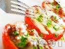 Рецепта Пълнени печени домати с гъби и сирене моцарела